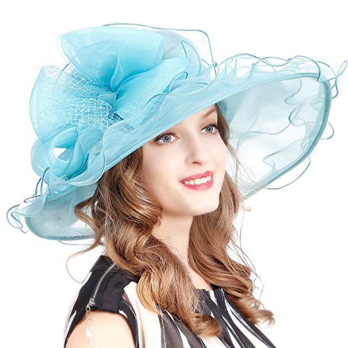 VECRY Women's Church Kentucky Derby Cap British Tea Party Wedding Hat (Dot-Sky Blue)