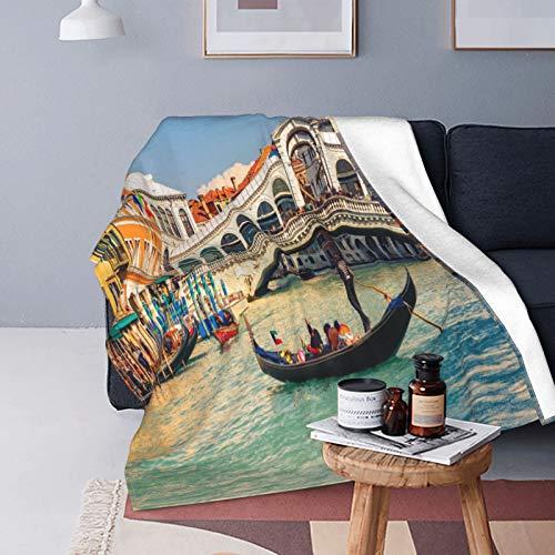 Felpa Manta de Tiro Suave Ligero,Paisaje Urbano en un día Soleado con el Puente de Rialto Destino de Viaje del Gran Canal de Venecia,Manta de Cama Edredón de Viaje para Sofá Cama,40