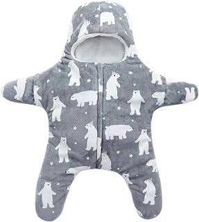 XFentech Newborn Baby Sleepsacks - Outdoor Casual Spring Autumn Coral Fleece Jumpsuit 76.5CM/0~6 Months,Grey Bear