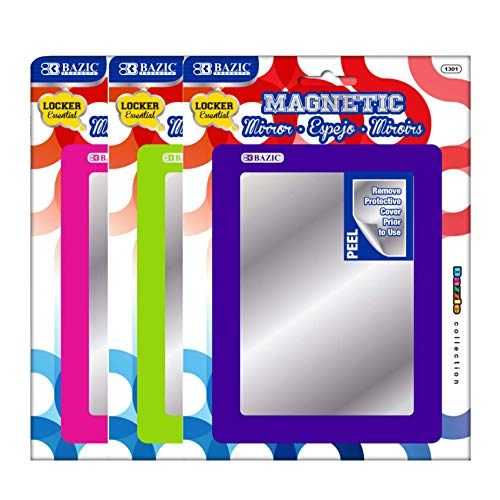 Bazic Magnetic Locker Mirror, 5.5 x 7 Inches, Various Colors, (3 Pack), (1301)