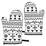 Ye Hua Tribal Black On White Seamless Repeat Pattern Vector Image_268 Oven Mitts Heat Resistant Kitchen Mitts with Soft Cotton Lining and Non-Slip Surface Safe for Baking, Cooking