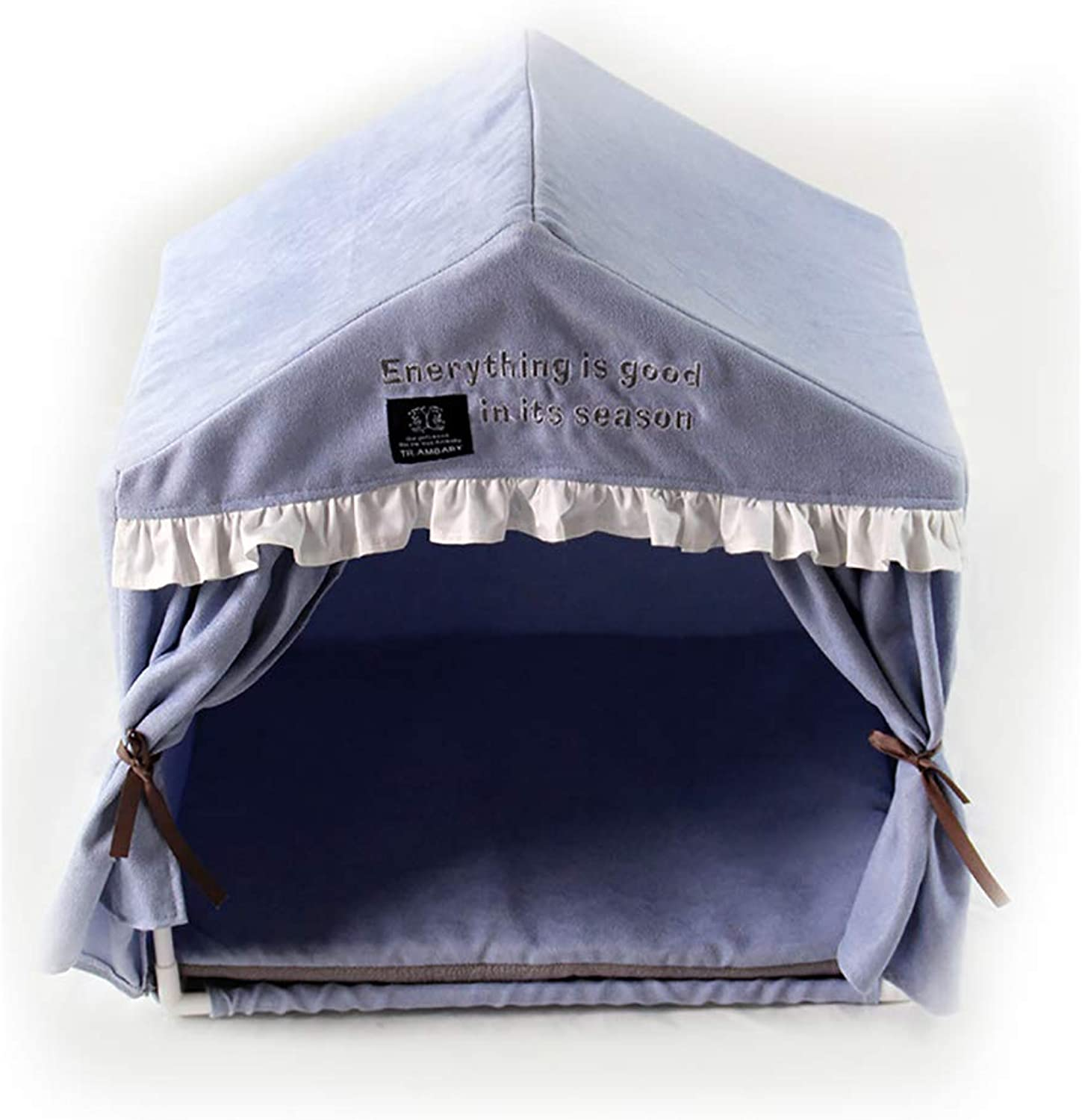 Pet Tent, Pleated Curtain Pet Tent, Removable and Washable Pet Nest, for Dogsand Cats,bluee