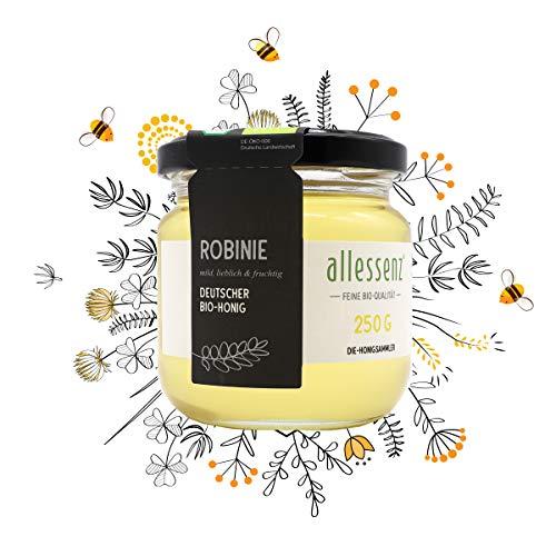 allessenz Bio Honig Robinie, aus deutscher Herstellung, Zertifiziert, mit höchsten Qualitätsansprüchen, 250g 1 Glas
