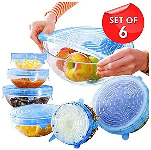 Sunmuch, coperchio elasticizzato in silicone per alimenti, ciotola riutilizzabile, per lavastoviglie, forno a microonde, congelatore, coperchio resistente per cibo
