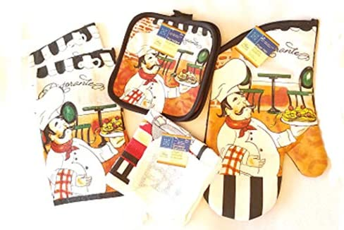 Home Coll Chef Themed 7 Piece Kitchen Linen Bundle Includes 2 Dish Towels 2 Potholders 2 Dish product image