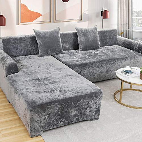 Copridivano, divano casa, rivestimento protettivo elastico, copridivano universale L, lavabile, resistente, antipolvere, copridivano morbido, facile installare 1/2/3/4 posti Gray 4 Seater(235*300CM)