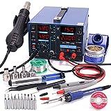 YIHUA 853D 2A USB Estación de soldadura y estación de soldadura de aire caliente alimentador 0-15VDC Estación 3 en 1 con puerto de carga USB5V voltímetro de 35VDC para reparación de teléfonos móviles