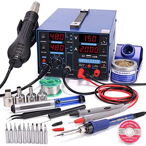 YIHUA 853D 2A USB SMD Heißluft-Nachbesserungsstation Lötstation, 0-15V DC Stromversorgung 3-IN-1 Station mit 5V USB-Ladeanschluss, 35V DC Voltmeter für Handy- &...