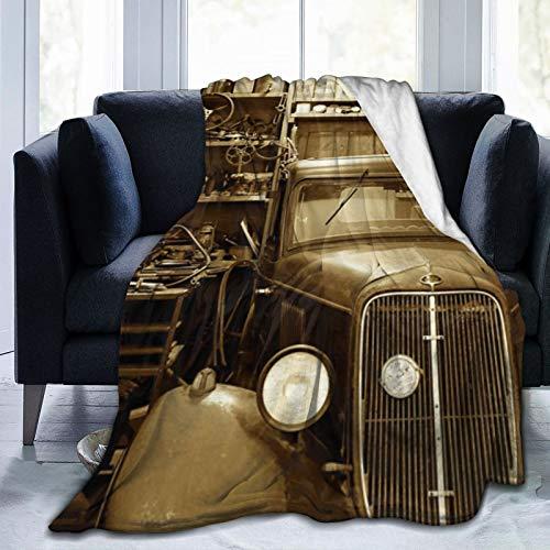 Manta súper suave que duerme cómodamente, se utiliza en el sofá de dormitorio, silla y sala de estar (50 x 40 cm) en blanco y negro para reparación de automóviles.