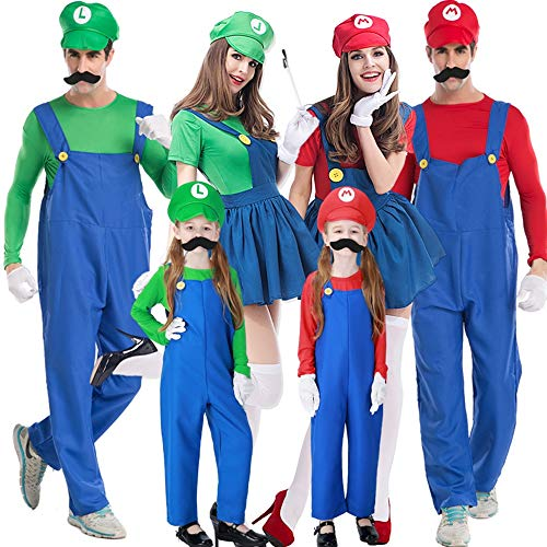Halloween Kostüm Damen Anime Accessoires Karneval Fasching Mario Und Luigis Klempner,Blau,ChildrenL
