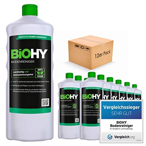 BiOHY Bodenreiniger (12x1l Flasche) | Konzentrat für alle Reinigungsgeräte und alle Hartböden | Angenehmer Geruch und streifenfreie Reinigung