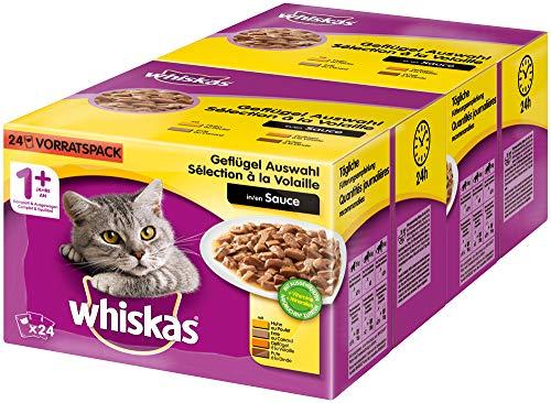 Whiskas 1 + Katzenfutter – Geflügel-Auswahl in Sauce – Schmackhaftes Feuchtfutter für eine gesunde Katze – 2 x 24 Portionsbeutel à 100g