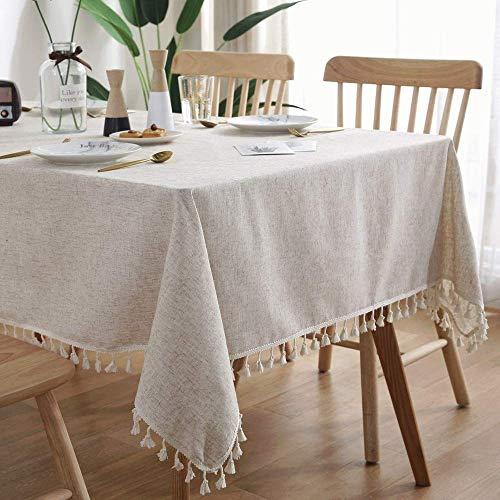 Vekja - Mantel de algodón y lino con borlas, color liso, a prueba de polvo, a prueba de encogimiento, para cocina, comedor, picnic, decoración de mesa (beige, 140 x 140 cm)