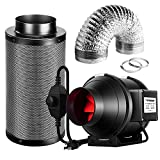 VIVOSUN Ventilation Kit 4 Inch 190 CFM Inline Fan with Speed Controller, 4 Inch Black Carbon Filter and 8 Feet of Ducting for Grow Tent