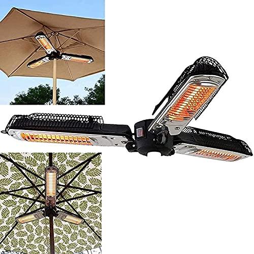 WXking Calentador de parasol de patio eléctrico, calentador de espacio de infrarrojos eléctrico plegable con 3 paneles de calentamiento Tres engranajes ajustables, calefacción instantánea para pérgola