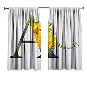 Letter A Drapes for Baby Nursery Flowering Alphabet Design Letter and Adonisroeschen Blossoms Typography Window Treatment for Hall & Guest Room 36×63 Inch