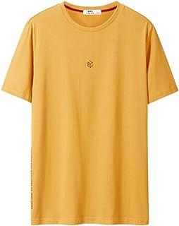 Men's Casual T-Shirt Short Sleeve, Fashion Men's Short Sleeve Top Sports Home Party Short Sleeve (Color : Yellow, Size : S)