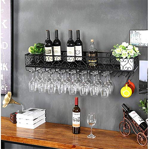 Home Equipment Wine Racks Rack Creative Red Wine Cup Rack European Wine Glass Rack Hanging Goblet Upside Down Restaurant Wrought Iron Rack Wall Hanging Wine Rack (Color : Classic black Size : 200x2
