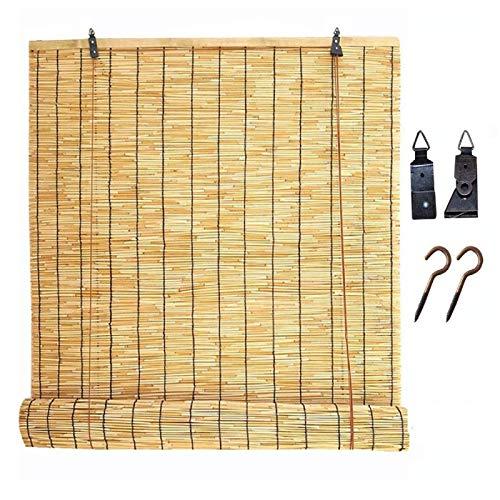 KEOA Persianas De Caña Retro Impermeable Natural Persiana Enrollable de Bambú Pantalla de privacidad Respirable Cortina de Paja para Exteriores e Interiores-50×100cm/20×39.5in B