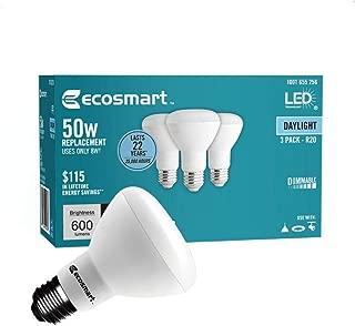 (3-Pack) EcoSmart R20 Daylight LED, Dimmable, 600-Lumen, 5000K, 8-Watt (50-Watt Equivalent) Light Bulb, E26 Medium Base