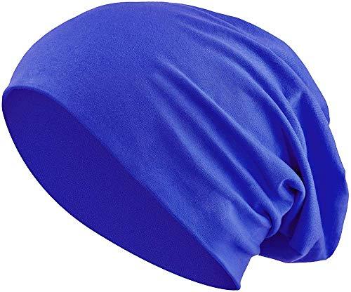 Jersey Baumwolle elastisches Long Slouch Beanie Unisex Mütze Heather in 35 (3) (Royal Blue)