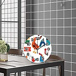 N\O Early Bird Rooster Round Wall Clock 10in Silent Non-Ticking Desk Clock Battery Operated Clocks Paintings Clock for Home Kitchen Living Room Bedroom School Office Decor