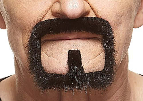 Mustaches Self Adhesive, Novelty, Van Dyke Fake Beard, False Facial Hair, Costume Accessory for Adults, Black Lustrous Color
