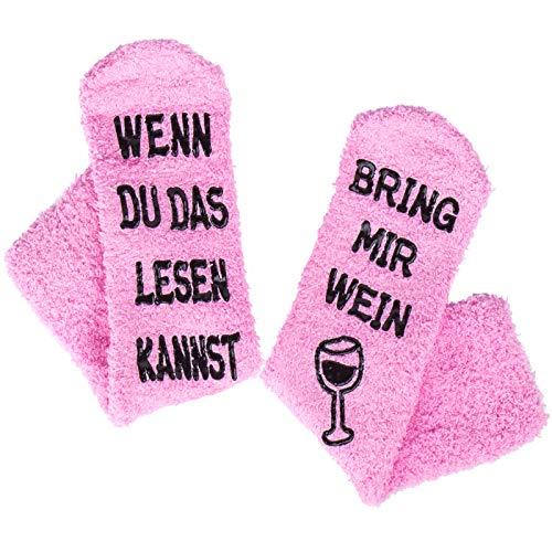 QTTO Wein Socken, Lustige Witzige Socken mit Cupcake-Geschenkverpackungen, Muttertags-Geschenk für Frauen, WENN DU DAS LESEN KANNST BRING MIR WEIN SOCKEN, Geburtstaggeschenk für Freundin