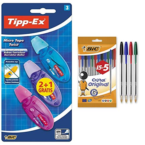 BIC Tipp-Ex Micro Tape Twist Cinta Correctora Blanca 8 m x 5 mm – Colores Surtidos, Blíster de 2+ 1 Unidades + Cristal Original Bolígrafos Punta Media (1,0 mm) – Colores Surtidos