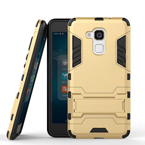 Handyhülle für Huawei Honor 5c Hülle Schale Tasche, Ougger Schutz [Kickstand] Leicht Hülle Schutz SchutzHülle Hart PC + Soft TPU Gummi Haut 2in1 Back Rear für Huawei Honor 5c Gold