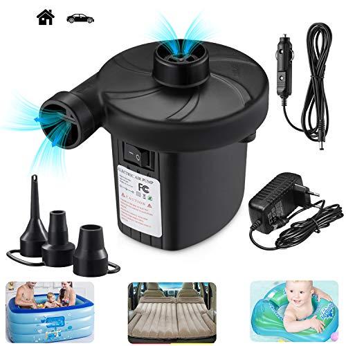 TECHSHARE Elektrische Luftpumpe, Luftpumpe Elektrisch, Pumpe Luftmatratze 2 in 1 Inflate und Deflate für Luftmatratzen, Schwimmring, Schlauchboote