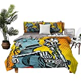 dsdsgog Three-Piece Bedding Extra Large Bed Linen Queen Bed Sheet Futuristic Robot We Can Do It Boy Girl Kid W68 xL85 Zippered Quilt Cover and 2 Envelope Pillowcases
