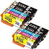 Starink Compatibile per Epson 33 33XL Cartucce d'inchiostro per Epson Expression Premium XP-7100 XP-530 XP-540 XP-630 XP-635 XP-640 XP-645 XP-830 XP-900 2 Nero/2 Nero Foto/2 Ciano/2 Magenta/2 Giallo
