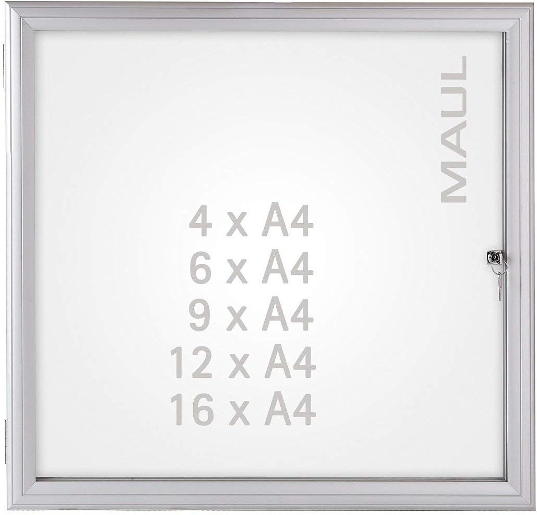 Maul 6973408 Schaukasten Advanced, Infokasten Auenbereich, 4 x A4, Magnetisch, Abschliebar, 69,2x51,8x3,5 cm (HxBxT), Silber