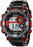 Armitron Sport Men's 40/8284RED Large Metallic Red Accented Black Resin Strap Chronograph Digital