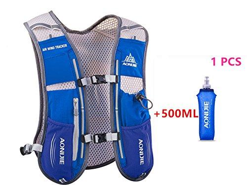 AONIJIE 5L multifunción Mochilas de hidratación, Ideal para Deportes al Aire Libre, acampadas, Ciclismo, Carreras, Alpinismo o Senderismo, Incluye 1 * 500 ML Botella de Agua (Azul)