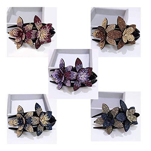 5 Stück 2020 New Strass Double Flower Haarspange, Mode Damen Strass Blume Metall Haarnadel, Elegant Lady Schwalbenschwanz Clip Schmuck