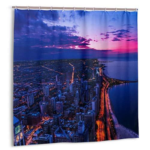 N/A Duschvorhang mit Haken, wasserdicht, schimmelresistent, antibakteriell, 12 Haken, 183 x 183 cm (Chicago Sunset-Tapete)