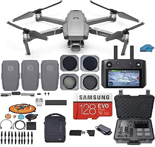 DJI Mavic 2 PRO Drone Quadcopter Fly More Combo with Hasselblad Camera, with Smart Controller, 3 Batteries, Case, ND, CPL Lens Filters, 128GB SD Card Bundle Kit with Must Have Accessories