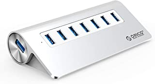 ORICO Aluminum 7 Port Super Speed USB3.0 Hub with 24W(12V/2A) Power Adapter and 3.3Ft. USB3.0 Cable Cord for iMac MacBook ...