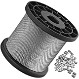 Wire Rope, 1/16 Wire Rope, Stainless Steel 304 Wire Cable, 328FT Length Aircraft Cable with 100pcs Sleeves Stops, 7x7 Strand Core, 368 lbs Breaking Strength Perfect for Outdoor, Yard, Garden or Crafts