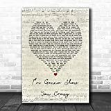 Lovely Print Bebe Rexha I?m Gonna Show You Crazy Script Heart Song Lyric Wall Poster Painting for Bedroom Living Room