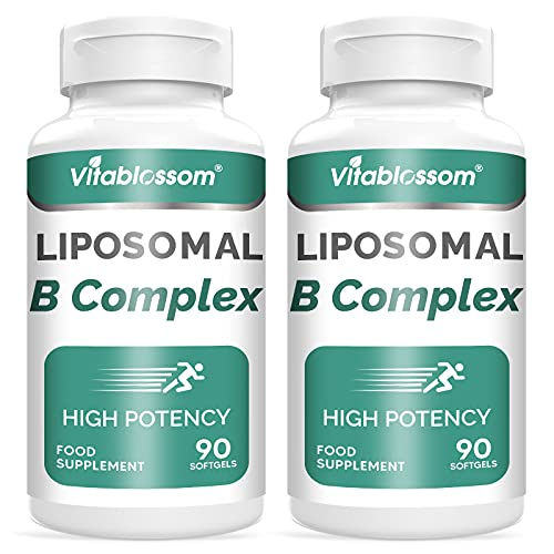 Liposomale Vitamin B-Komplex Softgel -- Super Absorption Alle 9 essentiellen B-Vitamine pro Kapsel ( B1, B2, B3, B5, B6, B7, B8, B9 & B12 ) & Cholin -- Immunsystem (180 Stück)