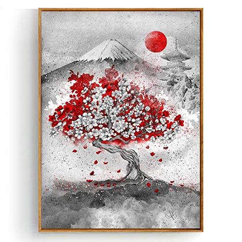 Puzzle 1000 Piezas Sakura Japón Monte Fuji Puzzle 1000 Piezas Rompecabezas de Juguete de descompresión Intelectual Educativo Divertido Juego Familiar para niños adultos50x75cm(20x30inch)