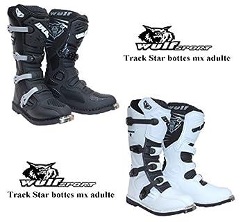 Bottes Moto Adultes WULF Track Star MX Motocross Enduro Quad Course Chaussures Nouvelles 2016 (EU 41, Noir)