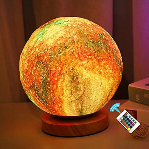 QFFL Moon lamp 3D Moon Light Remote Control 16 Color Bedroom Bedside Atmosphere Light with 110-240V Power Connection and Wooden Frame for Decorate