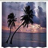 BROSHAN Hawaii-Dekor-Duschvorhang-Set, Ocean Beach Tropical Palm Tree Sunset Print Badezimmer Vorhang Landschaft Stoff Badezimmer Dekor Vorhang mit Haken, 72 lang