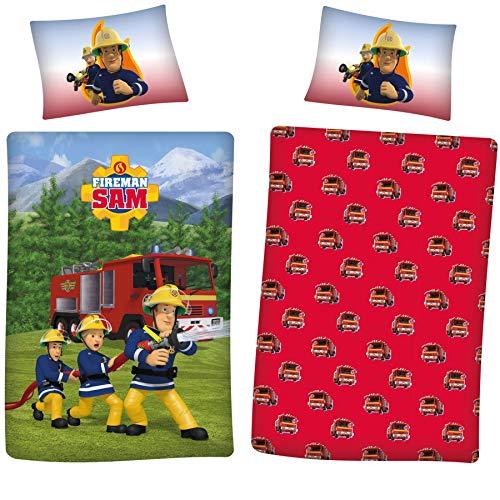 REVERSIBLE FIREMAN SAM Single Duvet Cover Kids Bedding Set Girl/Boy Children Bed 2 in 1 Designs 100% Soft Cotton Linen Cover Set Blue/Red (Fireman Sam, Single)