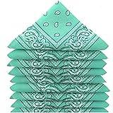 SECRETDRESSING – Set di bandane paisley foulard Fichu fazzoletto, fascia per capelli, 100% cotone, stile 90, stile vintage, confezione multicolore per uomo e donna verde acqua Taglia unica
