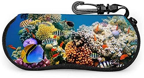 MODORSAN Tropical Fish on a Coral Reef-Oriental Red Mujer Hombre Estuche para gafas con mosquetón